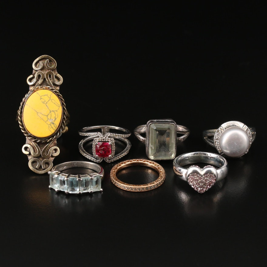 Assorted Rings Featuring Sterling, Swarovski and Pandora