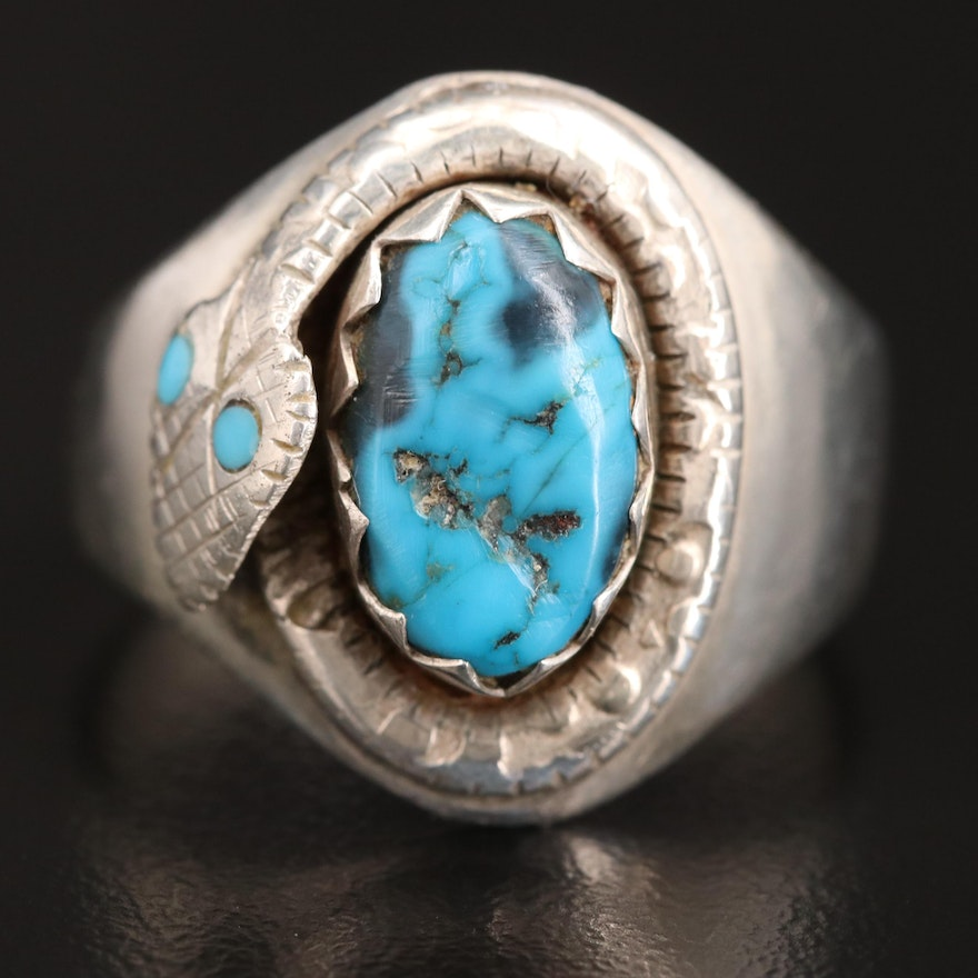 Sterling Silver Turquoise Serpent Ring