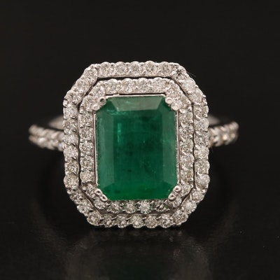 14K 2.58 CTW Emerald and 1.35 CTW Diamond Double Halo Ring