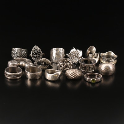 Assorted Sterling and 800 Silver Rings Including Peridot and Cubic Zirconia Ring