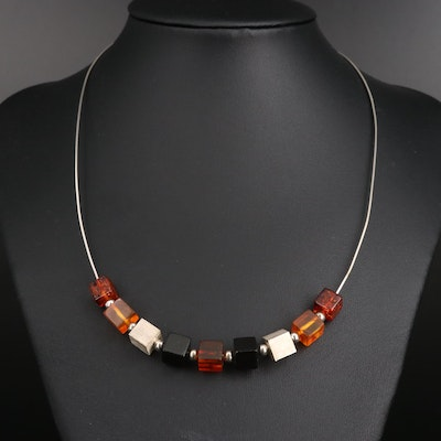 Sterling Silver Amber and Resin Cube Necklace