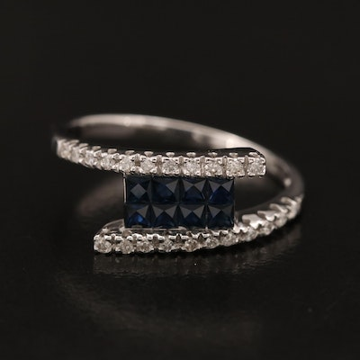 18K Invisible Set Sapphire and Diamond Bypass Ring