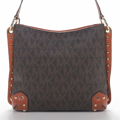 MICHAEL Michael Kors Studded Shoulder Bag in Monogram Canvas and Leather