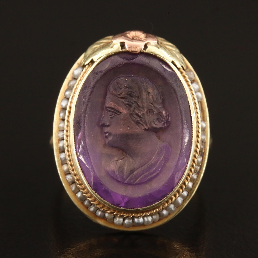 1930s 14K Tri-Color Amethyst Cameo and Pearl Ring