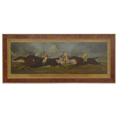 "Oil Painting after Théodore Géricault ""Le Derby de 1821 à Epsom,"" 20th Century"