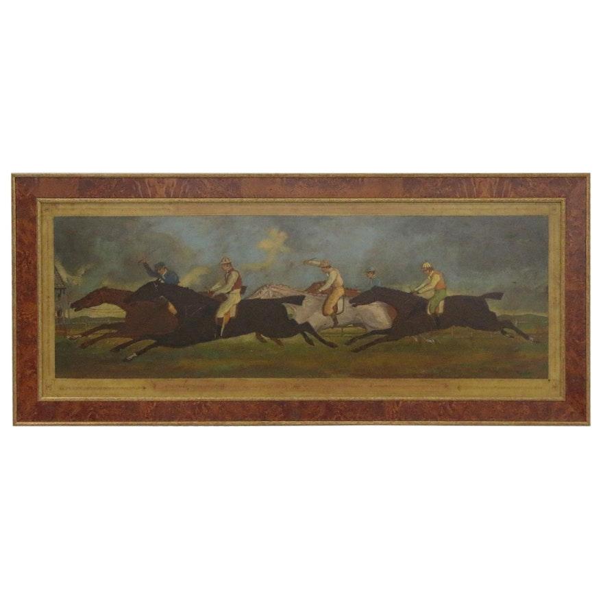 """Oil Painting after Théodore Géricault """"Le Derby de 1821 à Epsom,"""" 20th Century"""