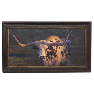 "William Suys Oil Painting ""Golden Light Longhorn,"" 2017"