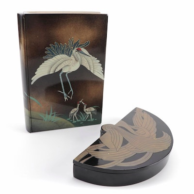 Frederick Cooper Brass Inlaid Swan Lacquer Box and Crane Motif Jewelry Book Box