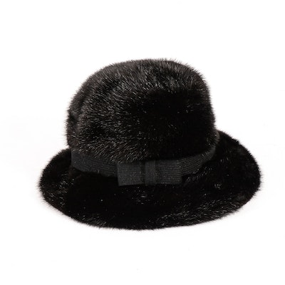 Black Mink Fur Cloche Hat with Bow