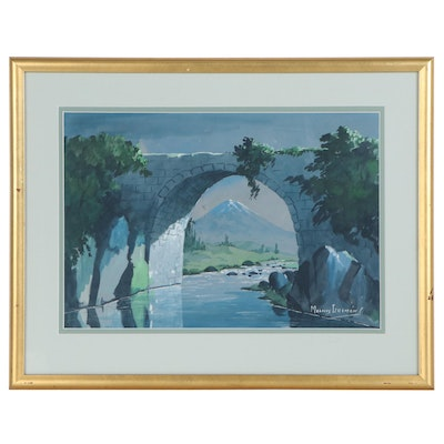 Morales Guzman Gouache Painting of Stone Bridge, Late 20th Century