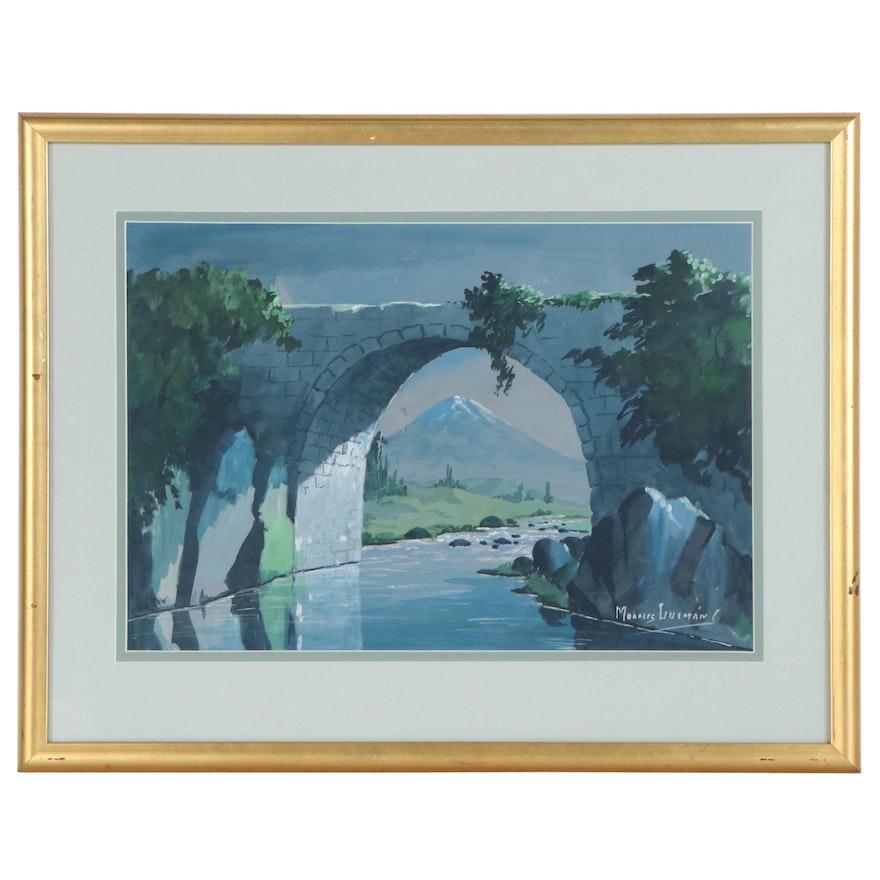 Morales Guzman Gouache Painting of Stone Bridge, Late 20th Century
