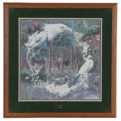 """Bev Doolittle Offset Lithograph """"Sacred Circle,"""" Late 20th Century"""