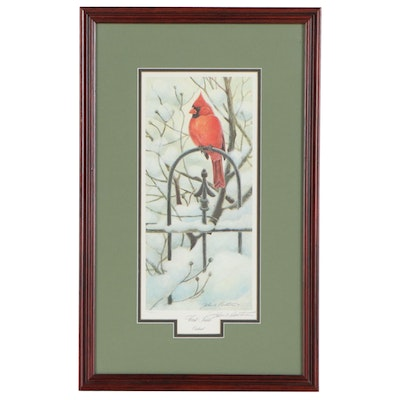"John A. Ruthven Offset Lithograph ""First Snow Cardinal,"" Late 20th Century"