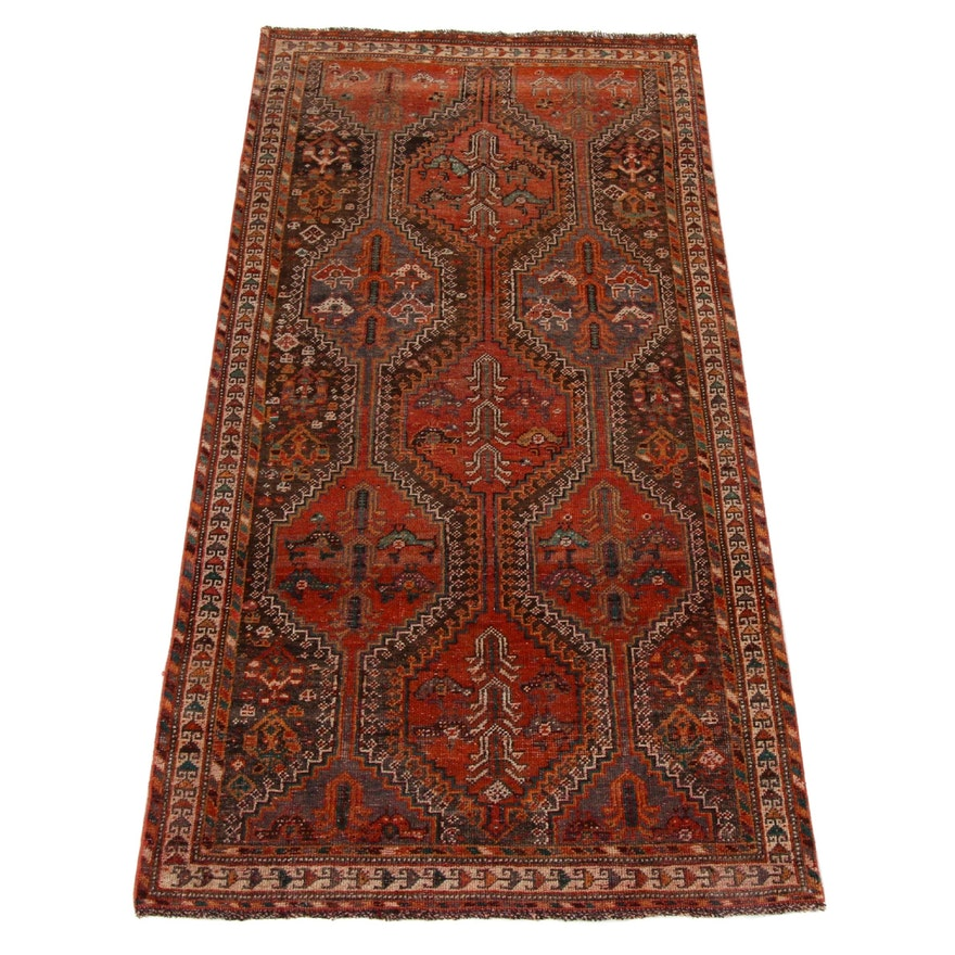 3'11 x 8'7 Hand-Knotted Persian Shiraz Wide Runner, 1950s