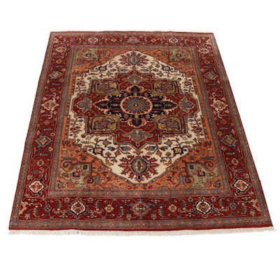 7'11 x 10'4 Hand-Knotted IndoPersian Heriz Serapi Rug, 2010s