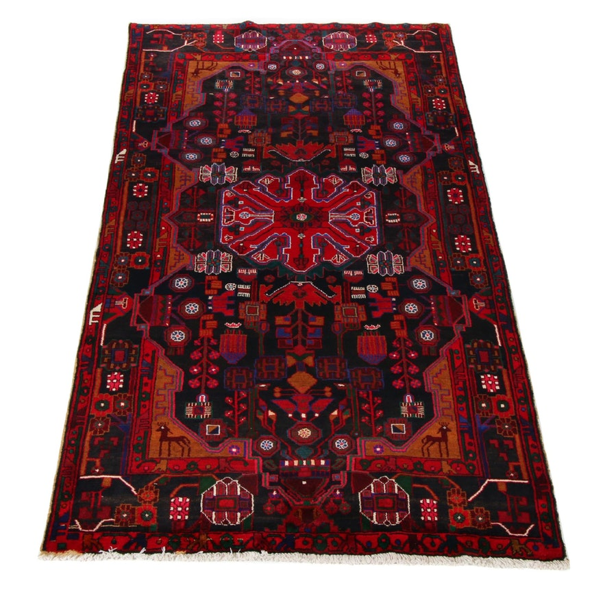 5'3 x 10'5 Hand-Knotted Persian Nahavand Pictorial Rug,1970s