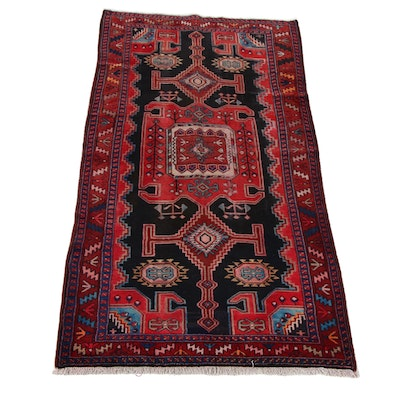 4'9 x 9'9 Hand-Knotted Persian North-West Persian Rug, 1950s
