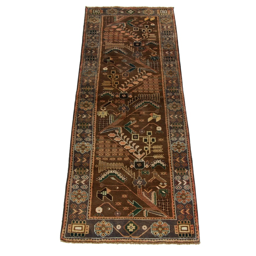 3'6 x 9'6 Hand-Knotted Persian North-West Persian Pictorial Runner, 1960s