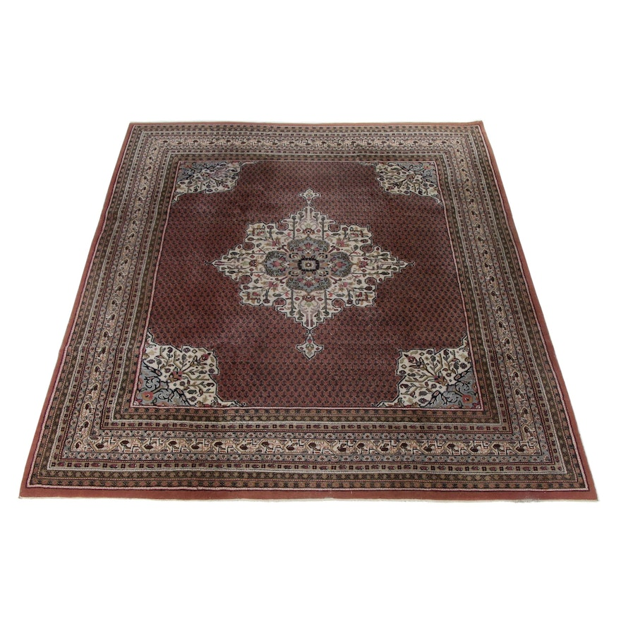 7'1 x 10'0 Hand-Knotted Indo Persian Tabriz Rug, 1990s