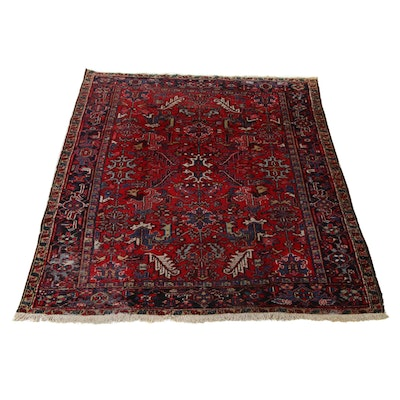 7'3 x 9'0 Hand-Knotted Persian Heriz Rug, 1930s