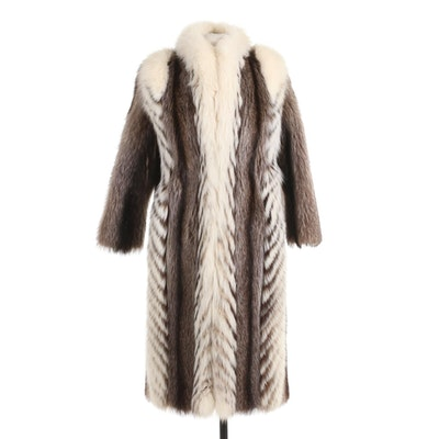 Fox Fur Chevron Patterned Coat