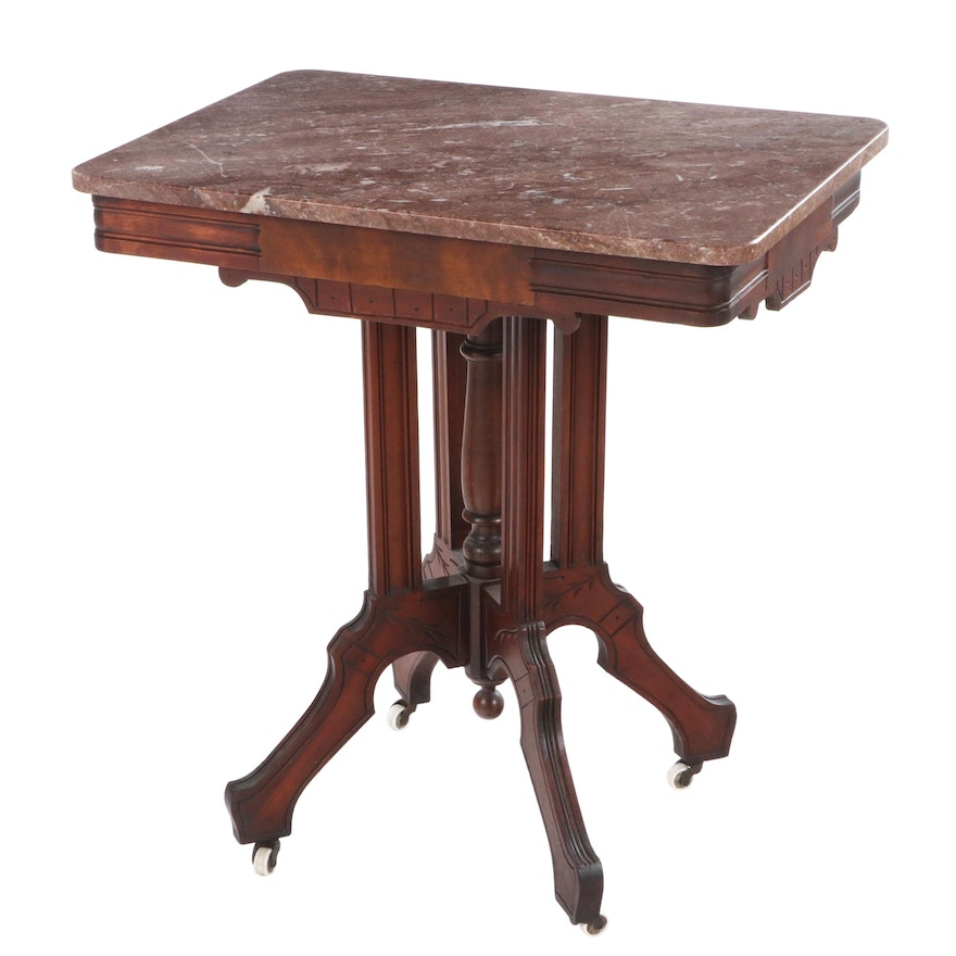 Victorian Walnut, Burl Walnut, and Marble Top Side Table, Late 19th Century