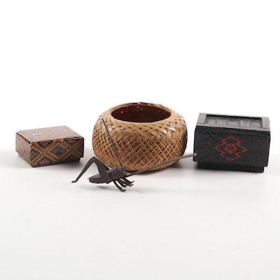 Japanese Metal Cricket and Other Decorative Accents
