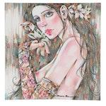 Maria Ramazanova Female Nude Colored Pencil Drawing