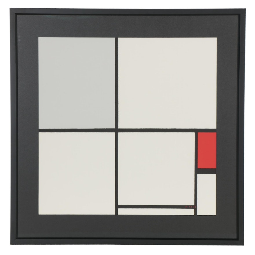 """Serigraph after Piet Mondrian """"Composition with Red,"""" 1988"""