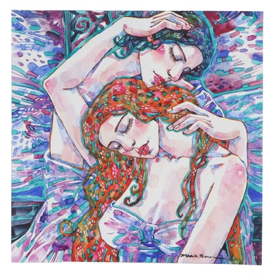 Maria Ramazanova Watercolor Painting of Embracing Female Figures