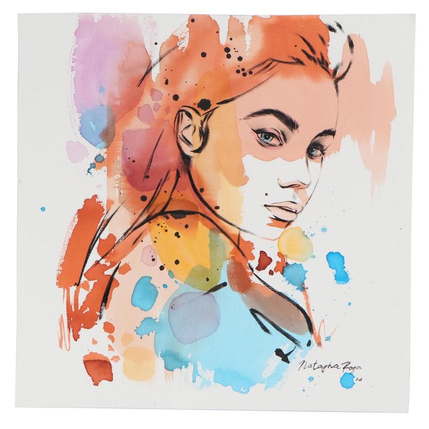 Natasha Rosa Mixed Media Painting of Female Figure, 2020