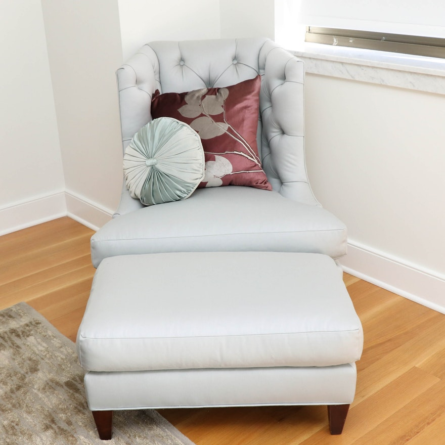 Baker Tufted Pale Blue Armchair with Ottoman