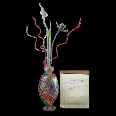 Darren Goodman Hand-Blown Reticello Glass Vase with Flowers, 2020