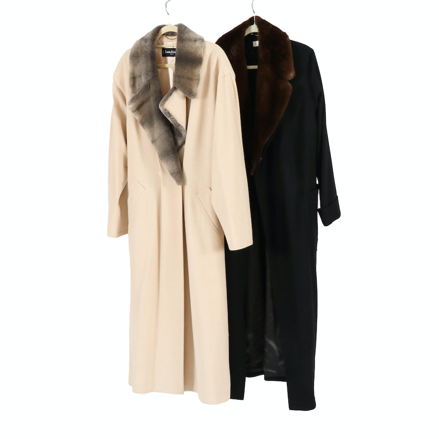 Escada and Louis Féraud Women's Wool and Cashmere Coats with Faux Fur Collars