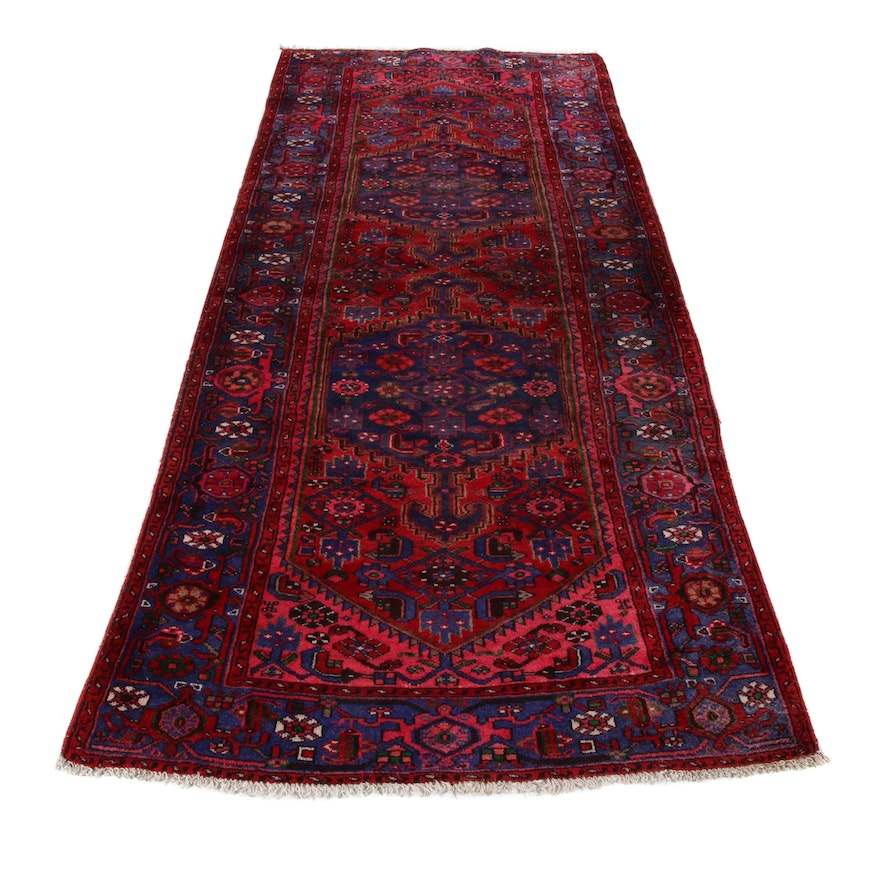 4'2 x 10'8 Hand-Knotted Persian Nahavand Wide Runner, 1970s