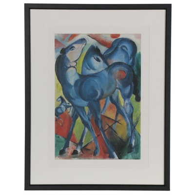 "Offset Lithograph after Franz Marc ""The Blue Foals,"" Late 20th Century"