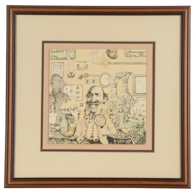 """Charles Bragg Lithograph """"The Collector,""""  circa 1980"""