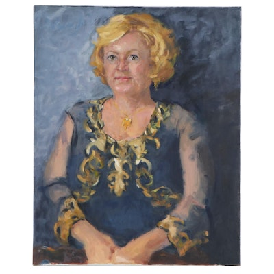 Charles Vance Brand Oil Portrait in Blue and Gold, 21st Century