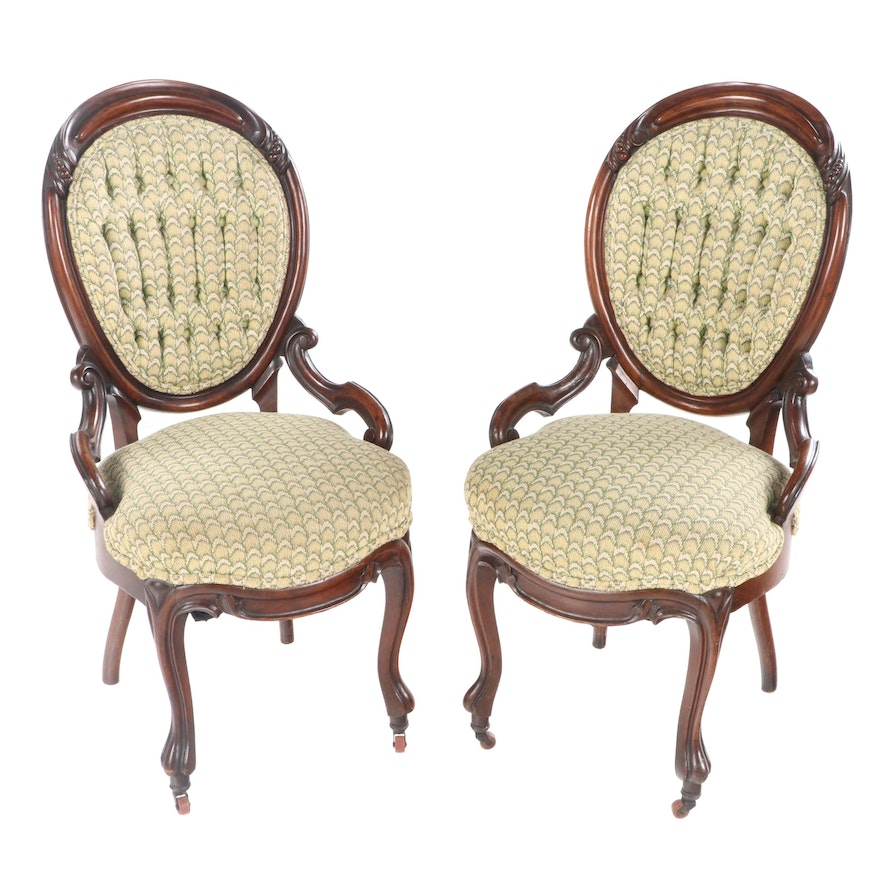 Pair of Rococo Revival Walnut Side Chairs, Third Quarter 19th Century