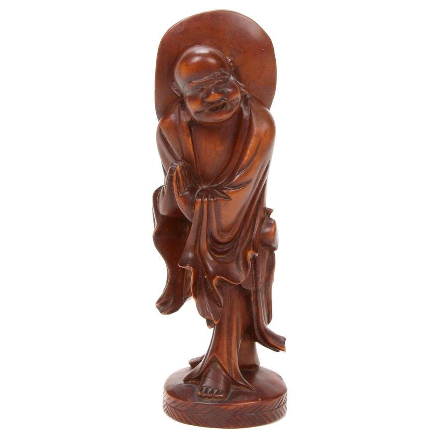 Chinese Carved Wood Buddha Figurine