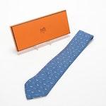 Hermès Paris 7894 MA Patterned Silk Hand-Stitched Necktie with Box