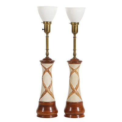Rembrandt Mid Century Modern Ceramic and Turned Wood Table Lamps, Pair