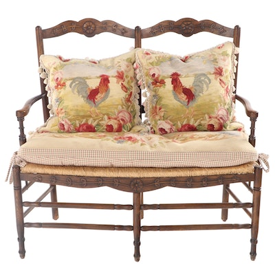 French Provincial Style Oak Double-Chairback Settee