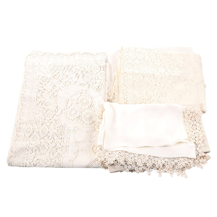 Vintage Openwork, Filet Lace and Crochet Table Linens