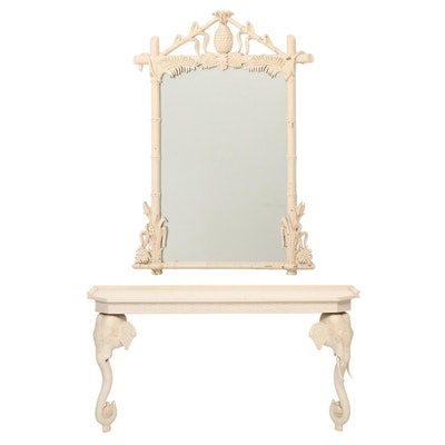 Ivory Painted Wood Figural Console Table with Mirror, Late 20th Century