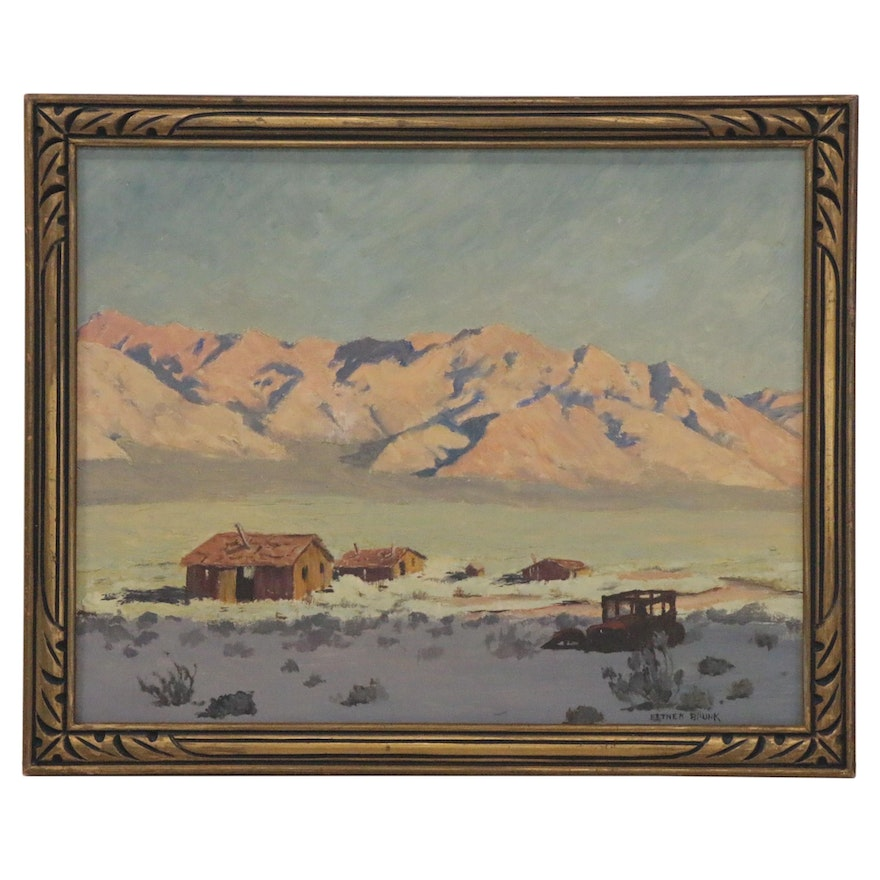 Esther Brunk Landscape Oil Painting, Mid-20th Century