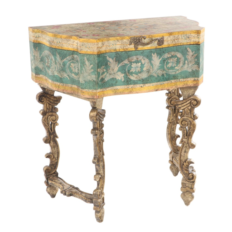 Baroque Style Polychrome-Decorated and Parcel-Gilt Chest-on-Stand