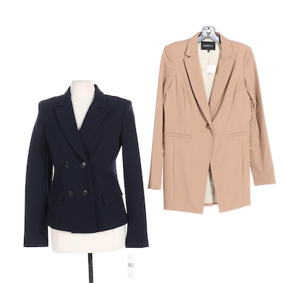 Two Lafayette 148 New York Blazers in Navy and Beige