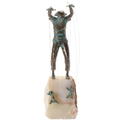 Curtis Jeré Cast Brass Marionette Sculpture, Mid to Late 20th Century