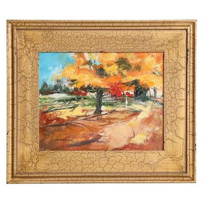"""Said Oladejo-lawal Oil Painting """"The Tree,"""" 21st Century"""
